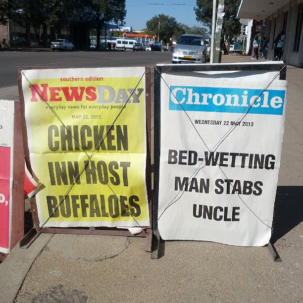 Some tabloid headlines from popular Zimbabwean papers.