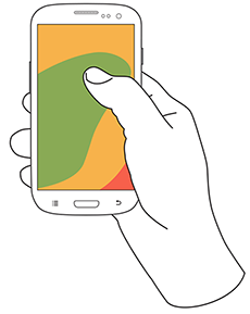 67% of one handed users keep their phone in their right hand. (illustration from uxmatters.com)