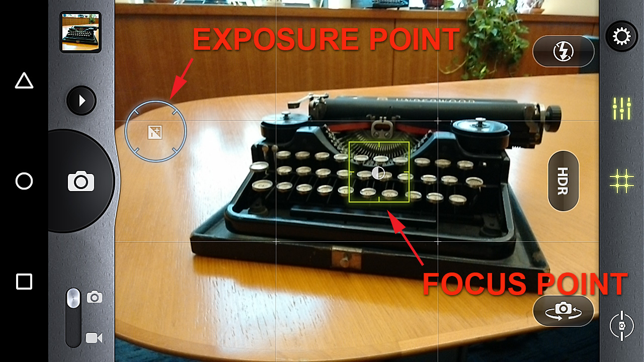 In this image the focus point is set on the subject and the exposure is set at  a point that will provide a better meter reading.