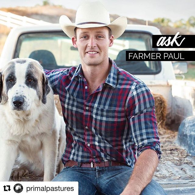#Repost @primalpastures with @get_repost ・・・ Got a question for Farmer Paul? We'll be going LIVE this Wednesday answering your questions about pastured poultry, regenerative agriculture, and how Paul went from battlefield to cubicle to grass farmer. Ask ANYTHING in the comments below- including why he never wears this hat. 📸@revolutionfoodmovie /// #knowyourfarmer #socalfarm #grassfarmer #farmlife #farmer