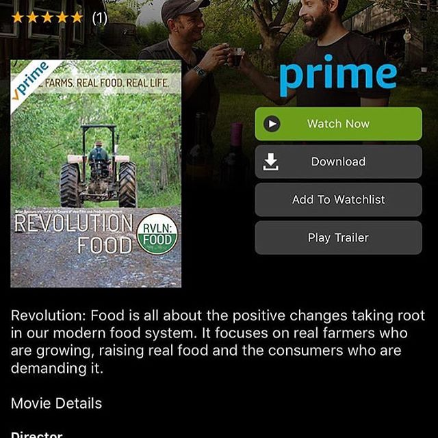 We are proud to announce to all our friends and followers that Revolution Food Movie is now available to all on @amazonprimevideo , free with your @amazon Prime Subscription!!!We would like to personally thank everyone involved in this project, because without you, none of this would be possible! Thank you Vandana Shiva Navdanya @vandanashiva1 @navdanyanavdanya @navdanyainternational , MARK SISSON Author Blogger, founder & publisher of MarksDailyApple.com @marksissonprimal @PrimalKitchenFoods @MarksDailyApple @theprimalblueprint  @primalhealthcoach , JOSHUA WEISSMAN Author Real Food Blogger at slimpalate.com @joshuaweissman, JOEL SALATIN Polyface Farms @polyfacefarm , MARK MCAFEE Organic Pastures @organicpasturesdairy , MARK SHEPARD New Forest Farm, PAUL GREIVE Primal Pastures @primalpastures , BENGT SVENSSON Founder Rosita Ratfishoil @corganic , MARCO CAVALIERI Agronomist, Le Corti Dei Farfensi @winery_lecortideifarfensi , JIMBO SOMECK Owner of Jimbo's Naturally @jimbosnaturally . And thank you to all our families and friends for believing in our project and all the help and support given through-ought this whole adventure.  See you all on @amazonprimevideo !  #revolutionfood #revolutionfoodmovie #realfood #realfarmer #realpeople #food #amazon #documentary