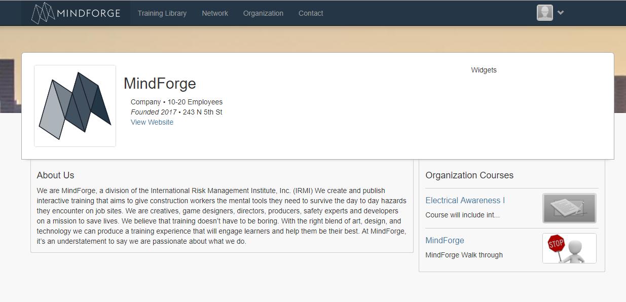 Organization Infomation Page