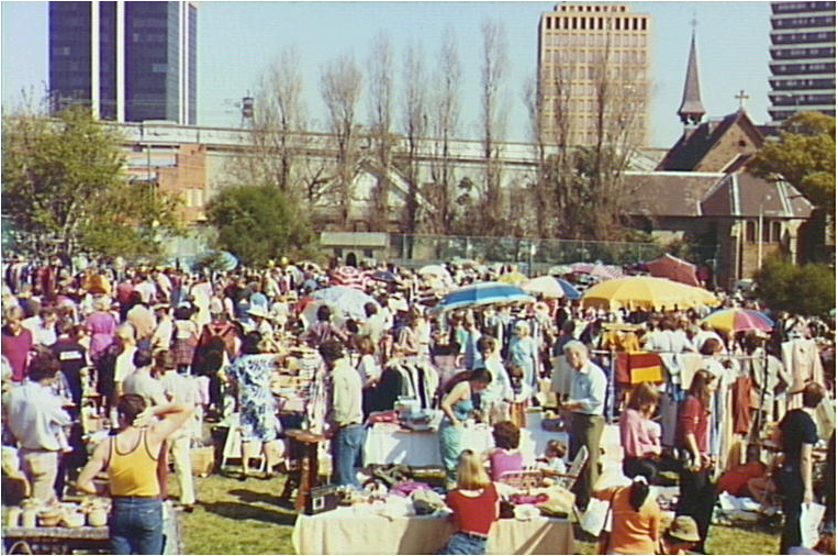 An early Market in the old kirribilli public School yard, c.1983.