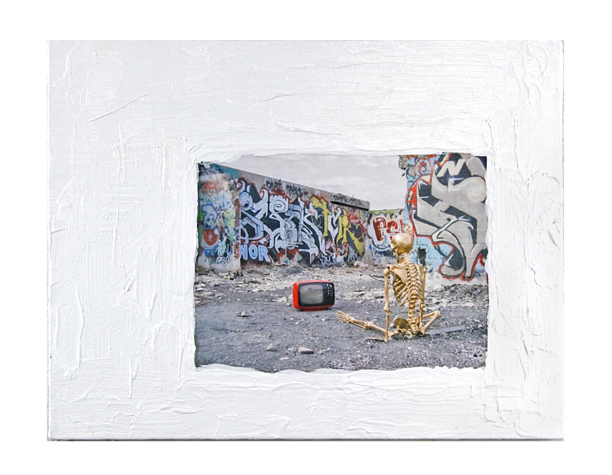 False Idols Before Me   2013  Acrylic paint and digital print on canvas  14x18