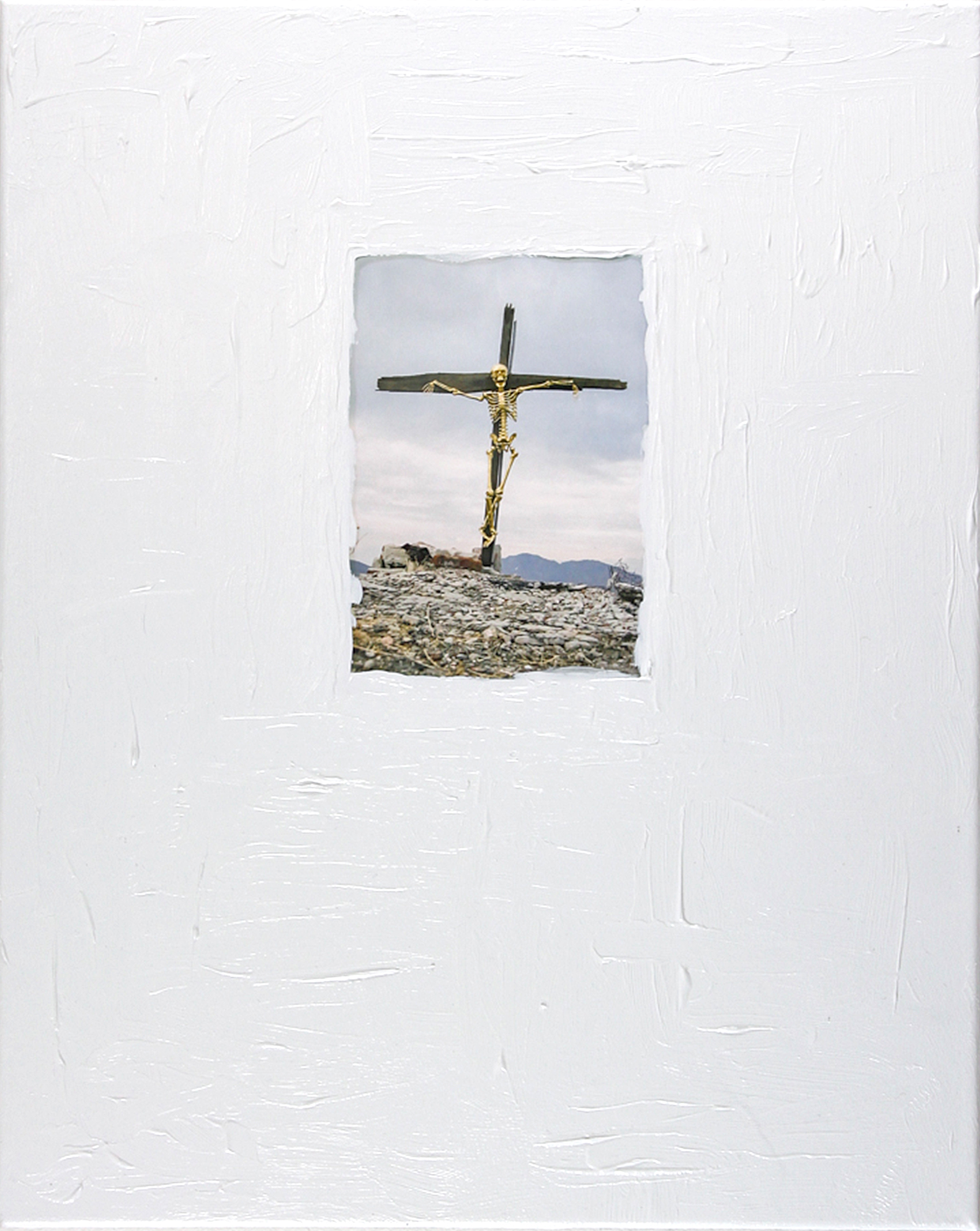 Upon the Foot of the Cross   2013  Acrylic paint anddigital printon canvas  20x34