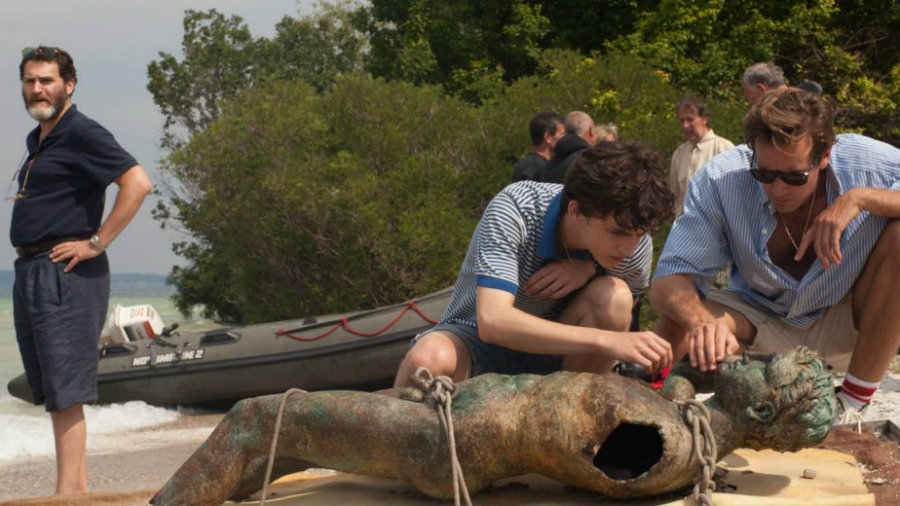 Michael Stuhlbarg, left, and Chalamet and Hammer in  Call Me By Your Name .