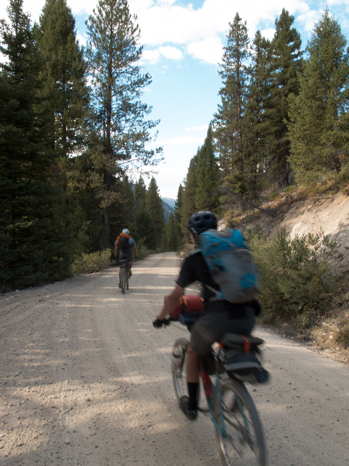 downhill into camp before climbing the deadwood summit.