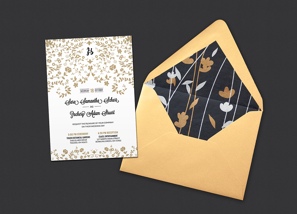Z + S gatsby wedding invitation design