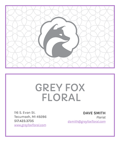 Grey Fox Floral Business Card Design 2
