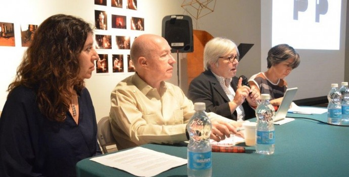 From left to right; curators Alexia Tala, Gerardo Mosquera, former Director of the Culture Institute of Puerto Rico Lilliana Ramos Collado, and artist and independent curator Vanessa Hernández Garcia at the press conferenece.