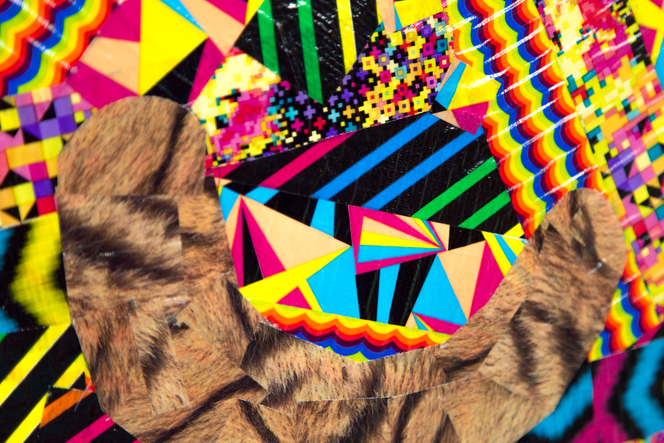 Detail of Héctor Madera's   Tiger Up/Down   (2015), colored tape on canvas. Photo credit  Felix de Portu