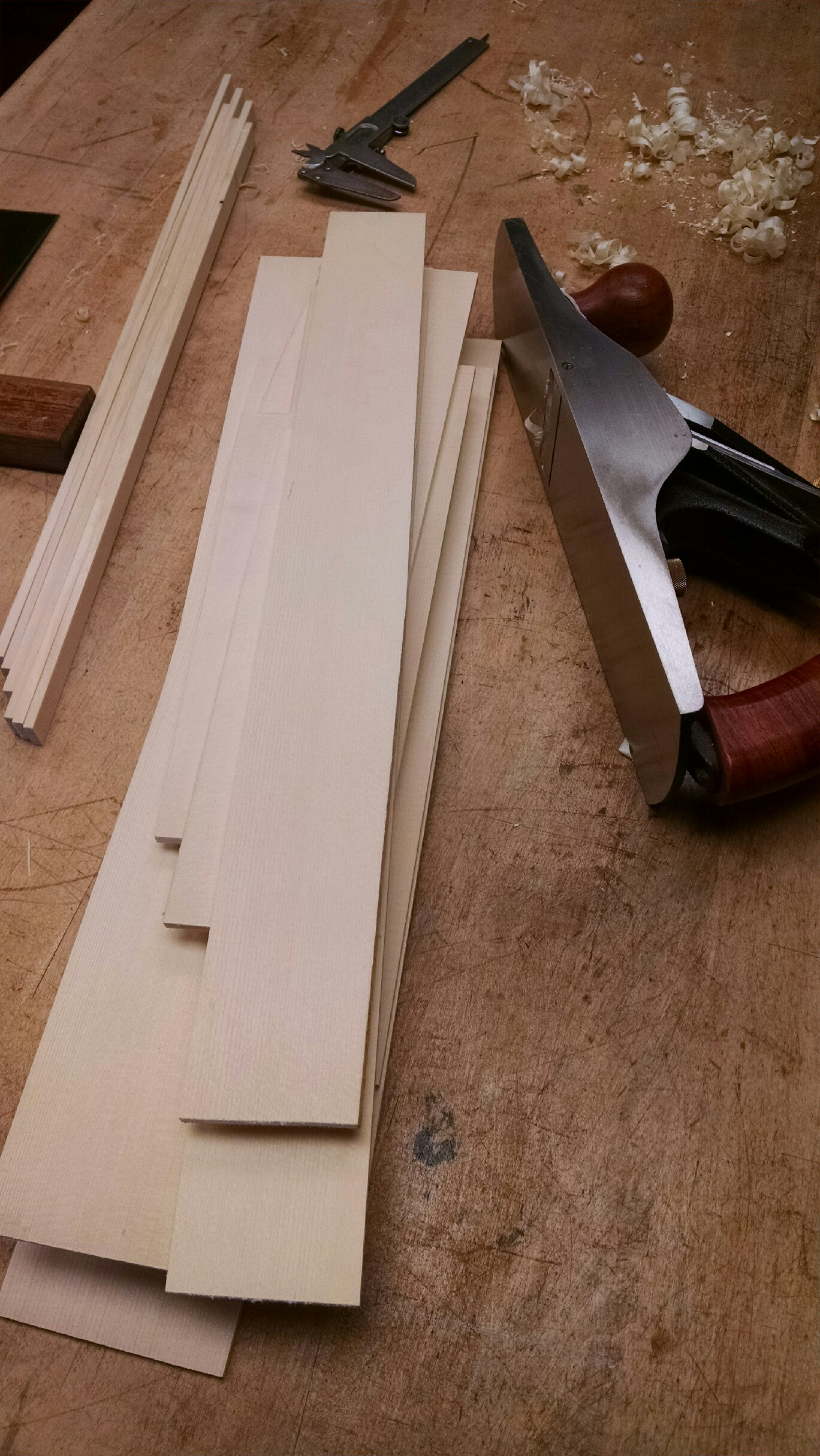 Preparing spruce for top braces.
