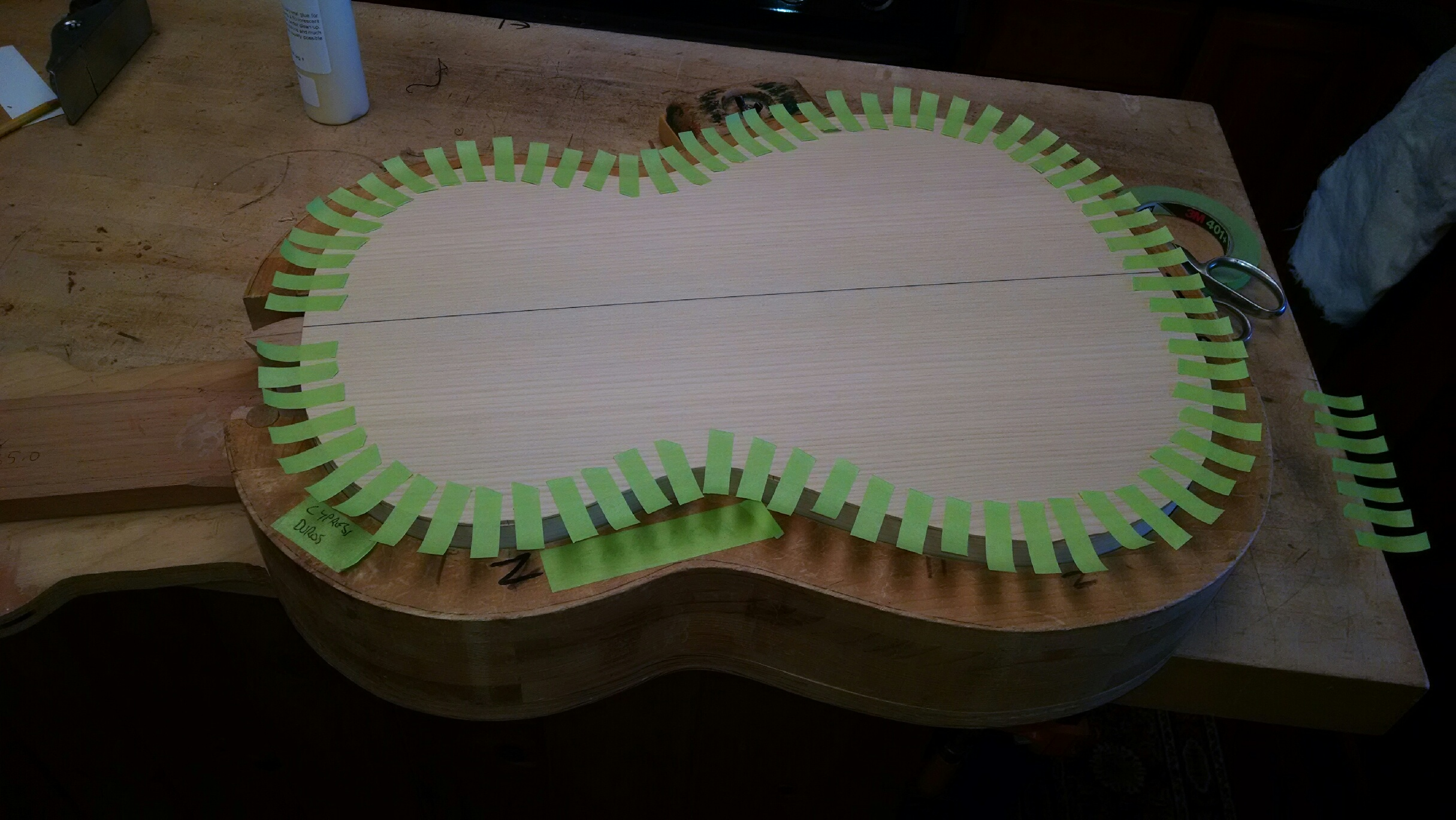 Using masking tape to clamp on back