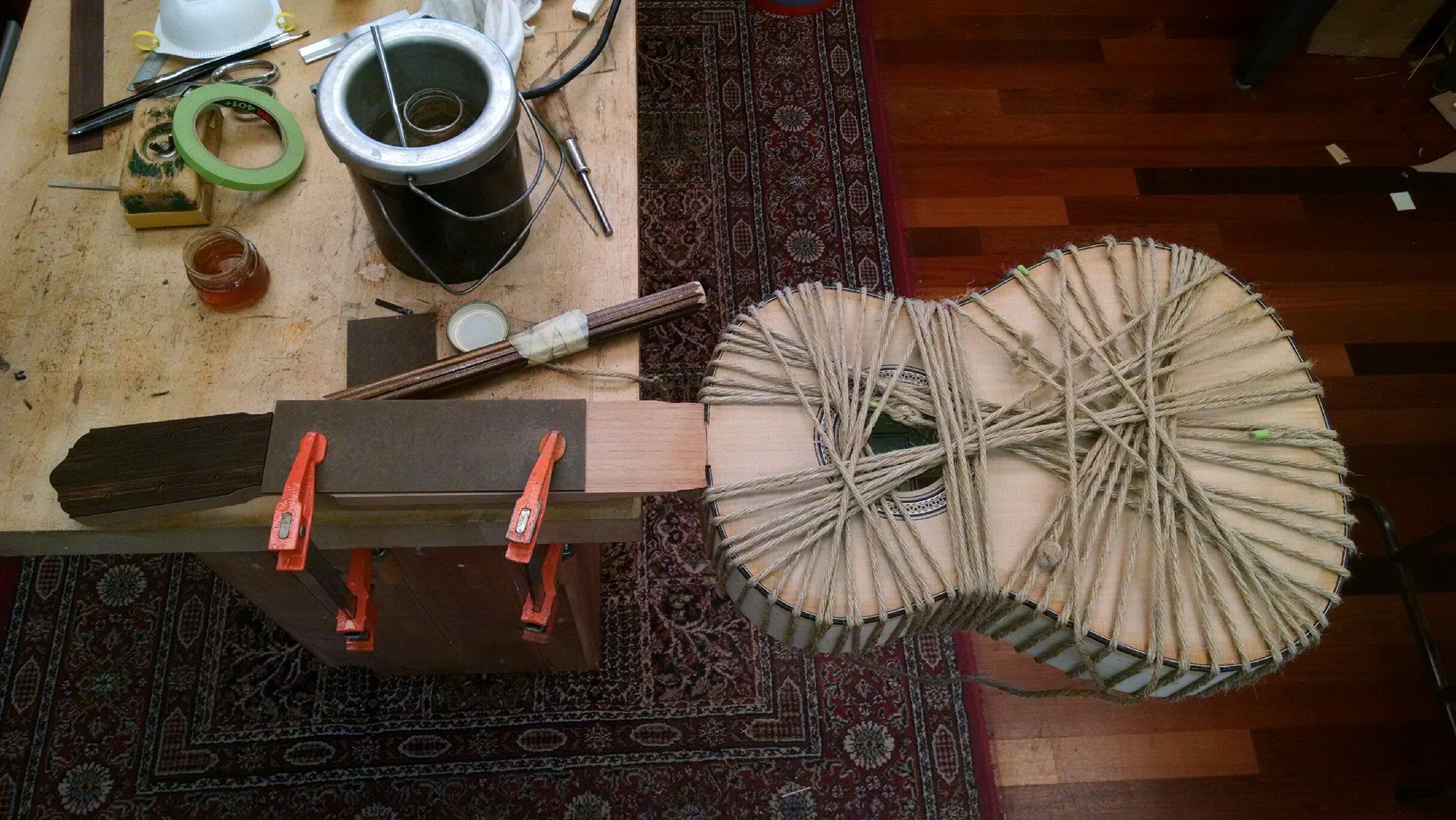 Glueing binding and purfling.