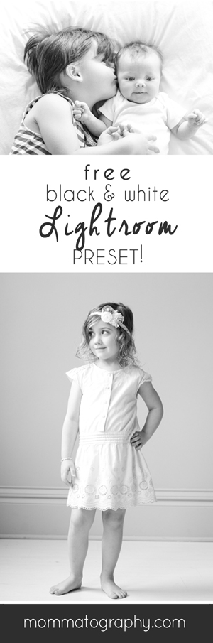FREE Beautiful Black and White Preset for Lightroom! www.mommatography.com