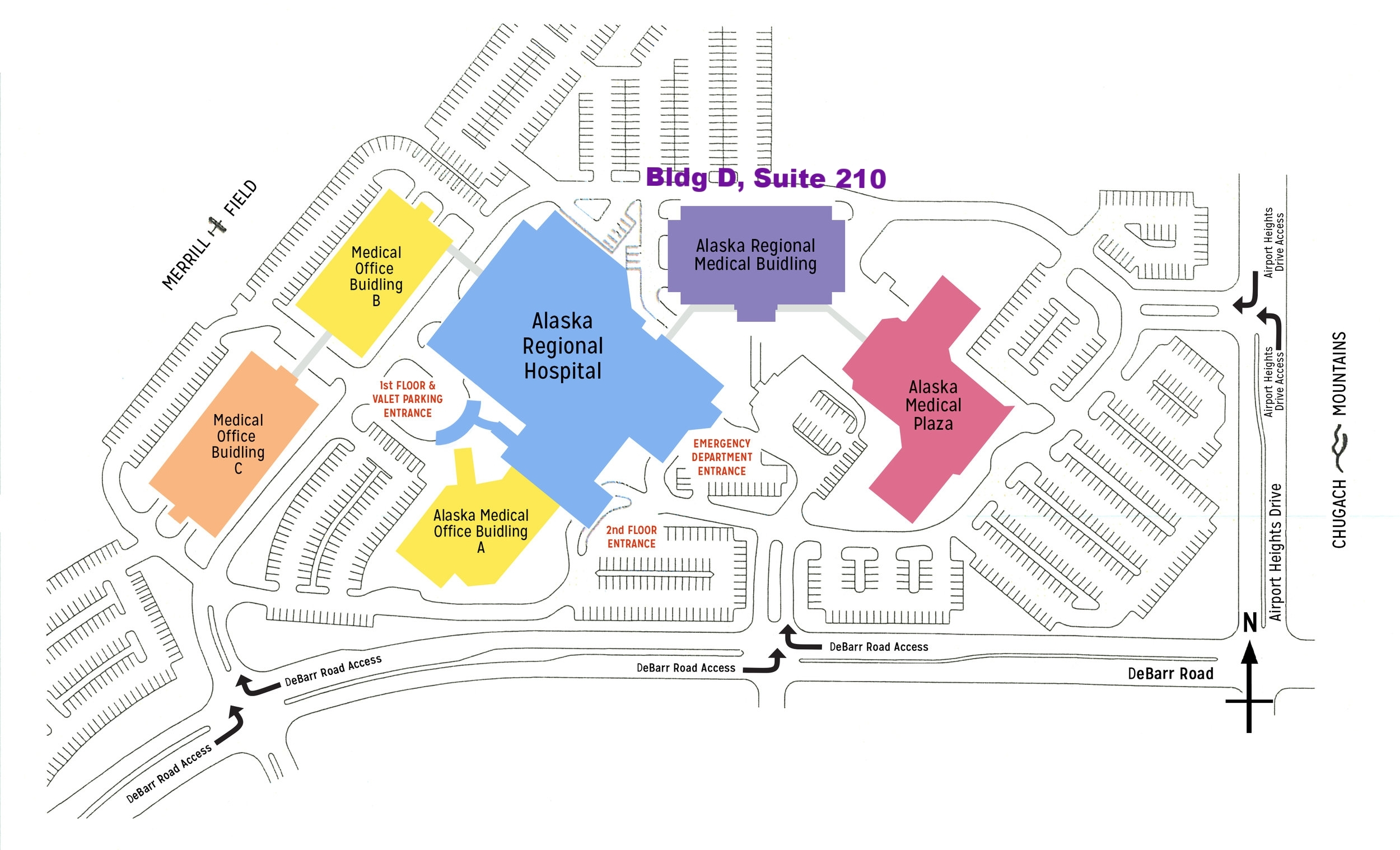 Our office is located in Building D (Purple Building on this map), Suite 210