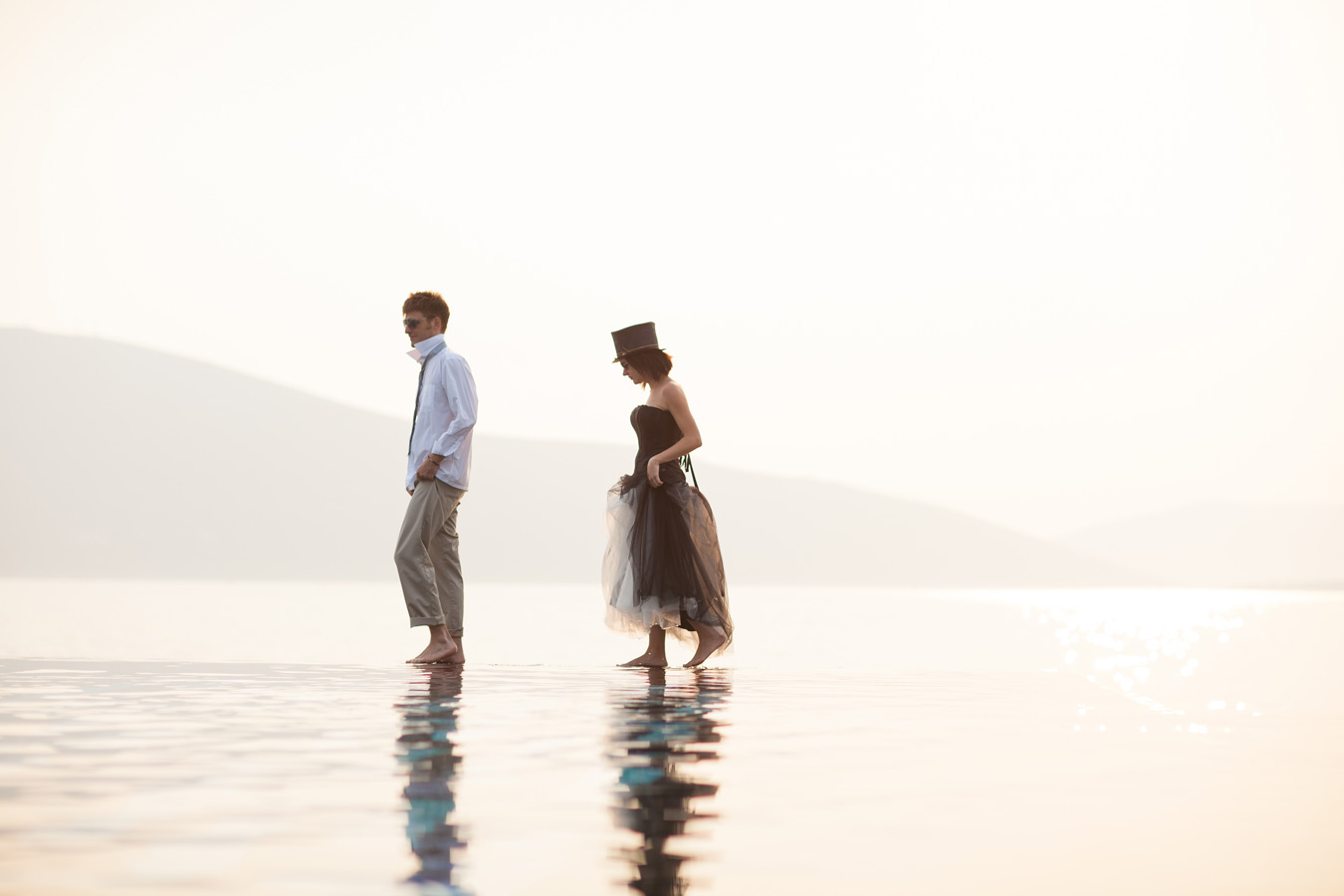 One of a set of images taken at Vanessa and Thor's destination Wedding in Porto Montenegro.Infinity pool image of bride and groom at Montenegro Lido.Wedding Photography By Matt Porteous