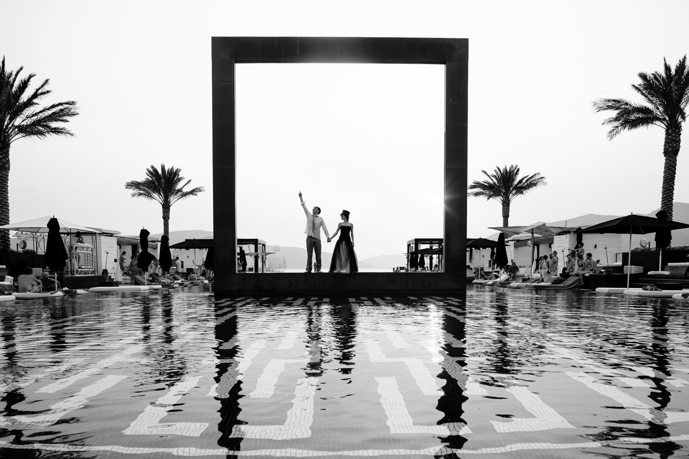 One of a set of images taken at Vanessa and Thor's destination Wedding in Porto Montenegro.Stunning black and white image of the bride and groom, Montenegro Lido.Wedding Photography By Matt Porteous