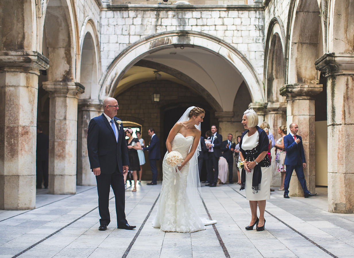 One of a set of images taken at this chic destination Wedding of Jenna & Nick. The stylish old town of Dubrovnik, Croatia.  The Bride awaits.  Photography by Matt Porteous
