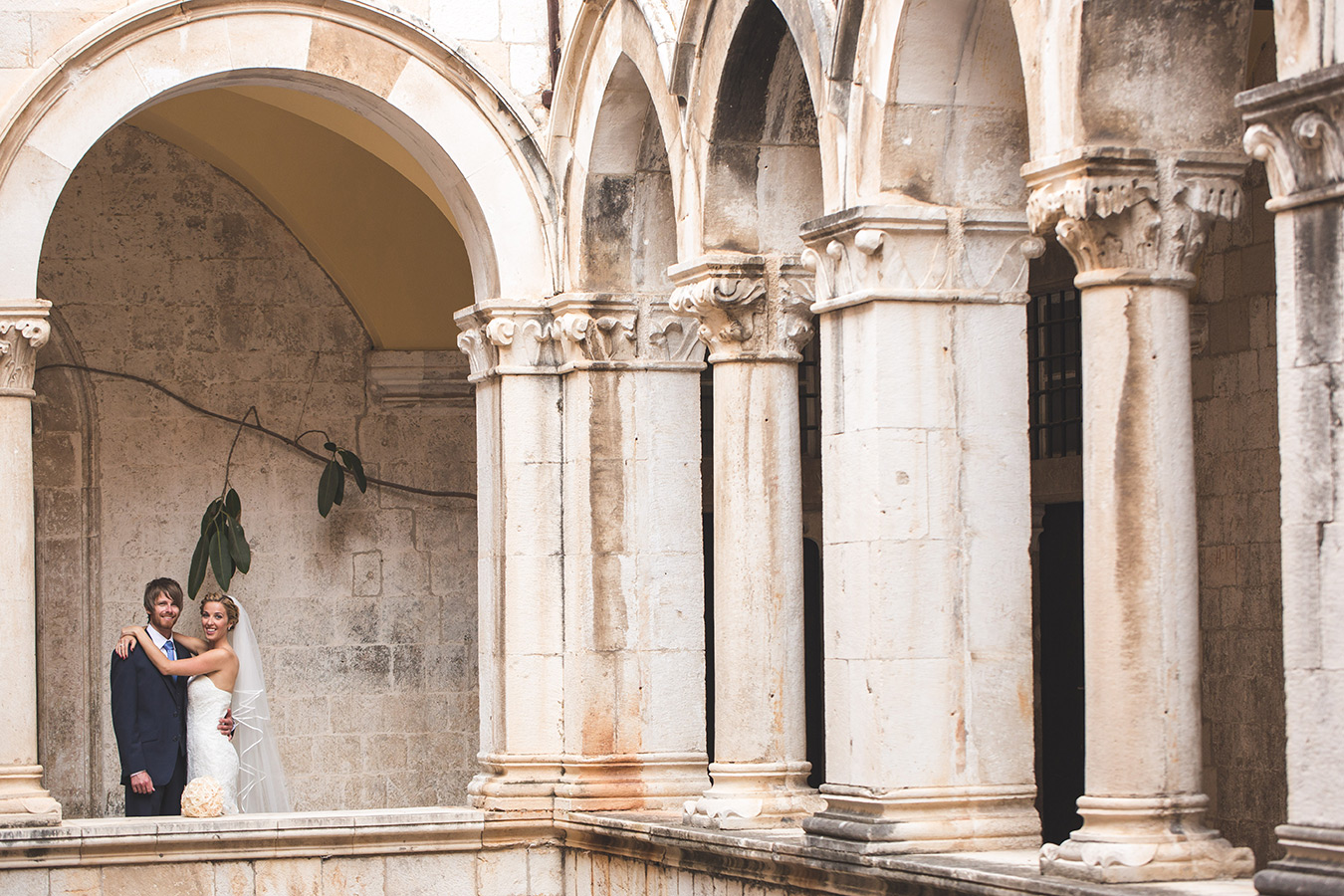 One of a set of images taken at this chic destination Wedding of Jenna & Nick. The stylish old town of Dubrovnik, Croatia.  The Newleyweds together.  Photography by Matt Porteous