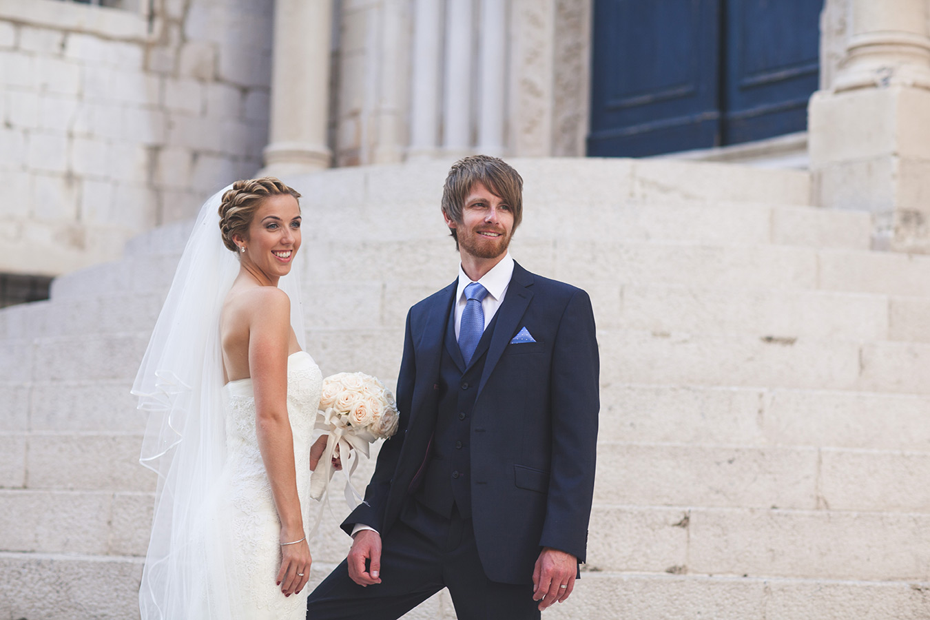 One of a set of images taken at this chic destination Wedding of Jenna & Nick. The stylish old town of Dubrovnik, Croatia.  The Beautiful couple.  Photography by Matt Porteous