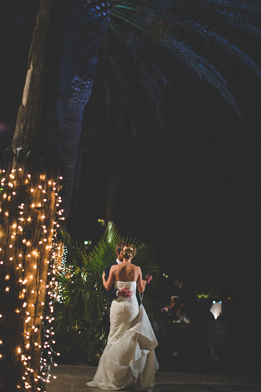 One of a set of images taken at this chic destination Wedding of Jenna & Nick. The stylish old town of Dubrovnik, Croatia.  The couple dance underneath the night sky.  Photography by Matt Porteous
