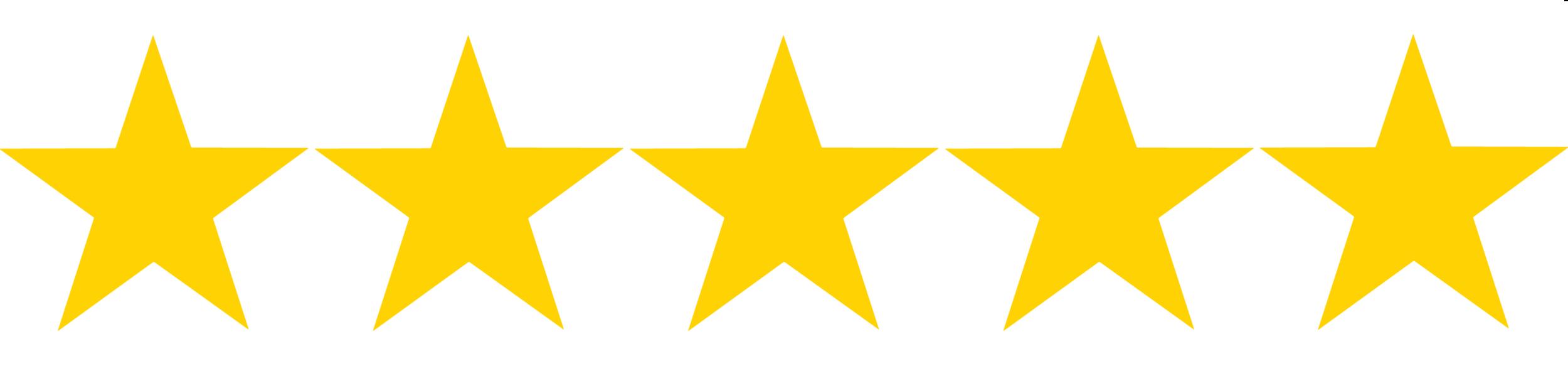 Five golden star rating