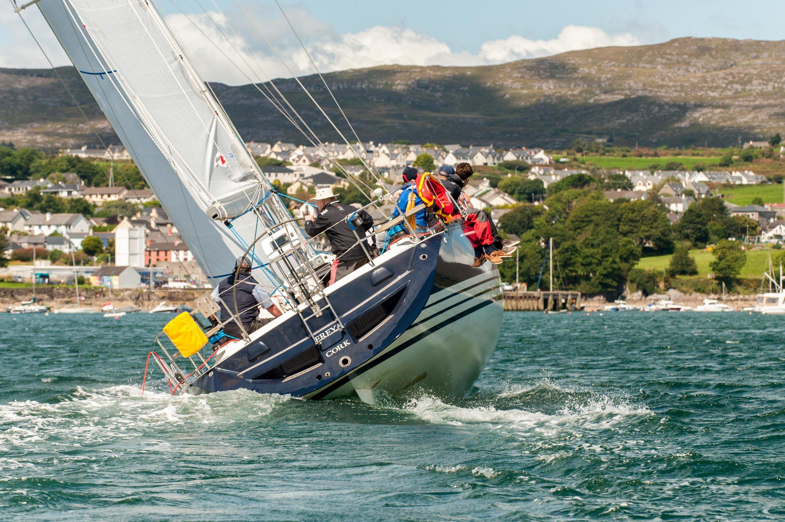 Sailing yacht 'Freya' in action during Calves Week 2017.