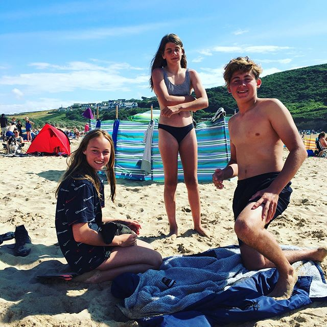 Perfect long weekend with these three#happycamping #summertime #cornwallcoast #beachtime #familytime #goodforthesoul 😍🌊