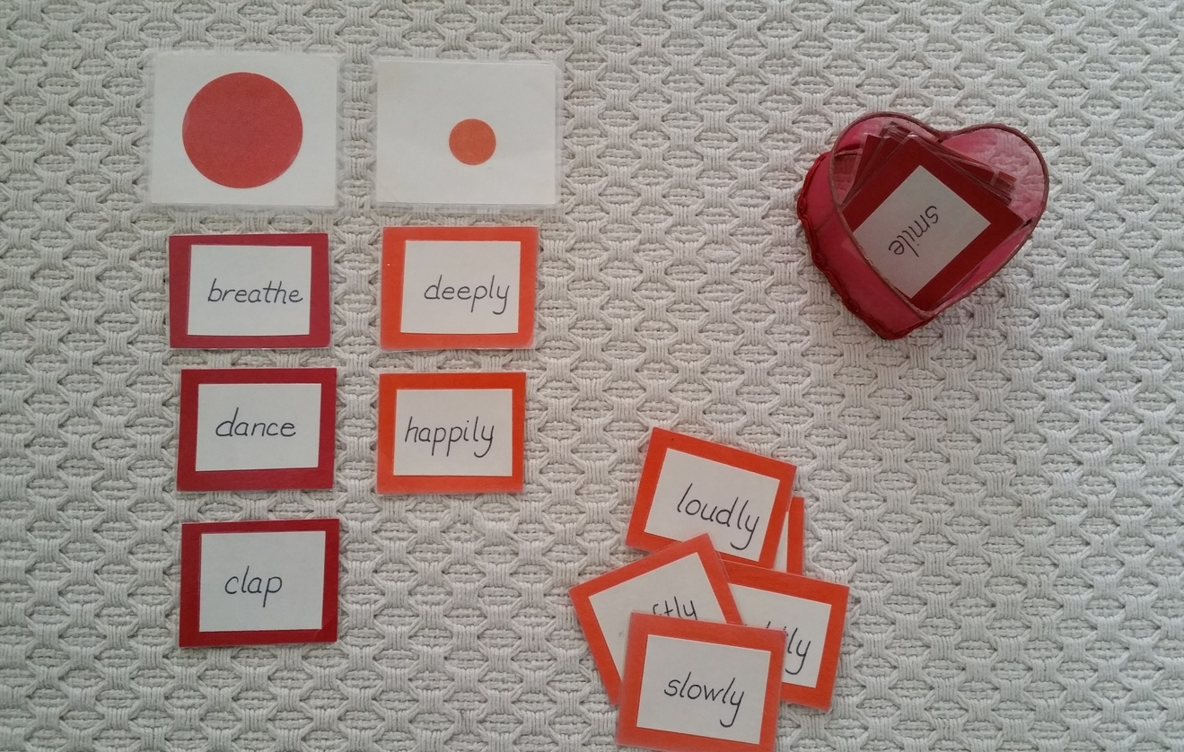 Childrenat the primary level begin learning parts of speech.Each part of speech (noun, verb, adverb, etc) is assigned a symbol –large red circle: verb, small orange circle: adverb.