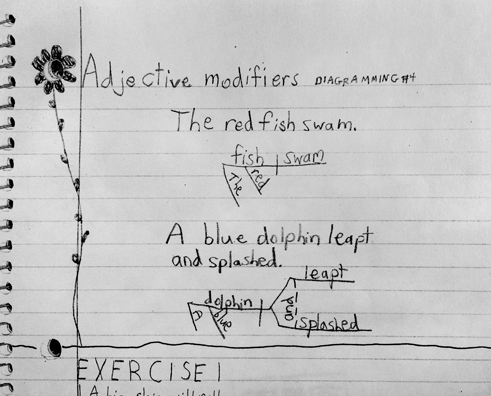 By the upper elementary, they begin to move away from the physical materials and start to diagram sentences like this