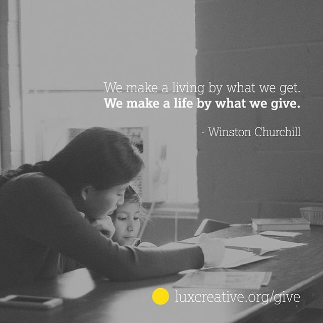 Happy #givingtuesday! Visit luxcreative.org to find out more about what we do.