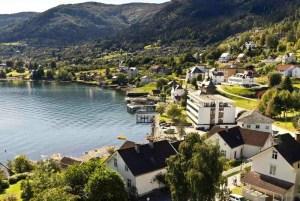Fin utsikt mot Sognefjorden og deler av Balestrand.