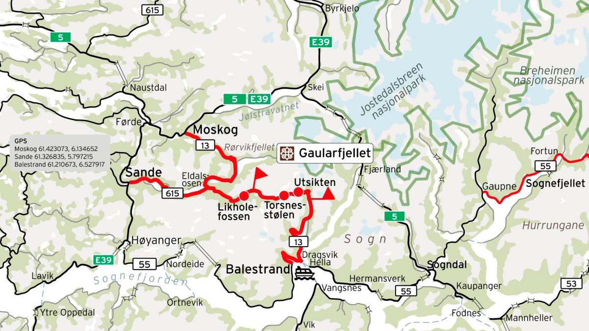 Gaularfjellet, ein av 18 Nasjonale turistveger. Kart: najonaleturistveger.no