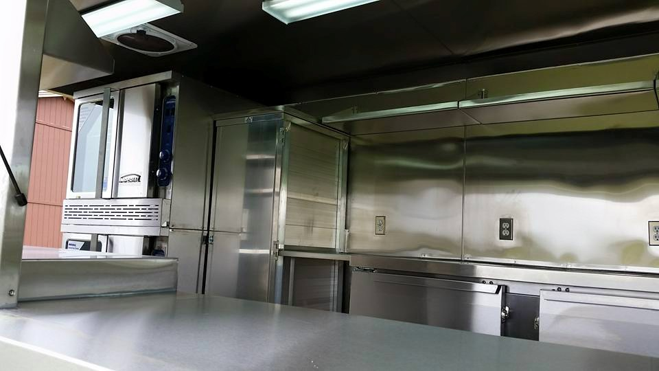 Stainless steel walls and shelves