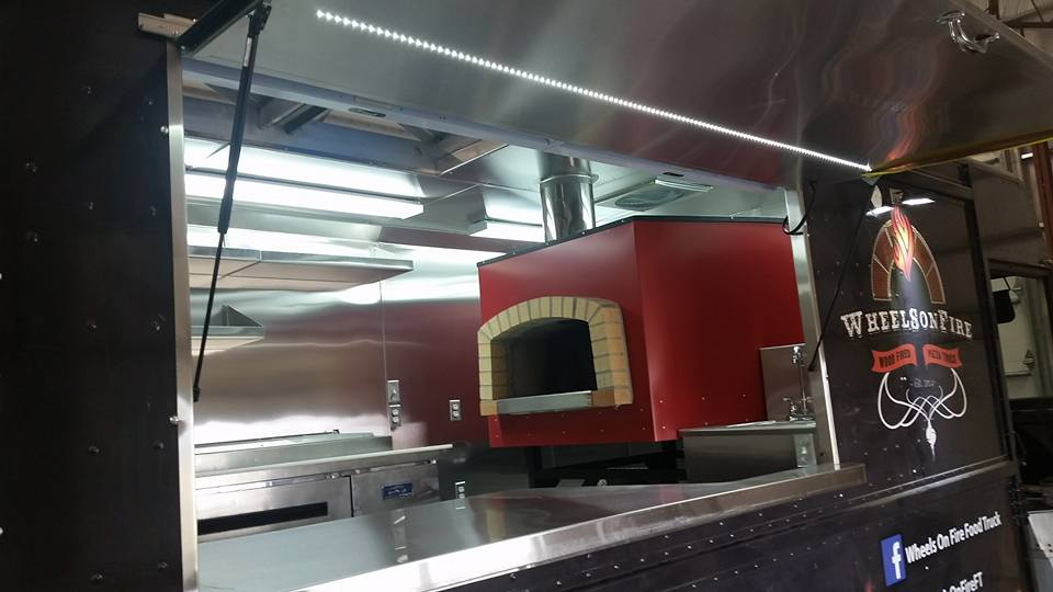 pizza oven on wheels on fire food truck