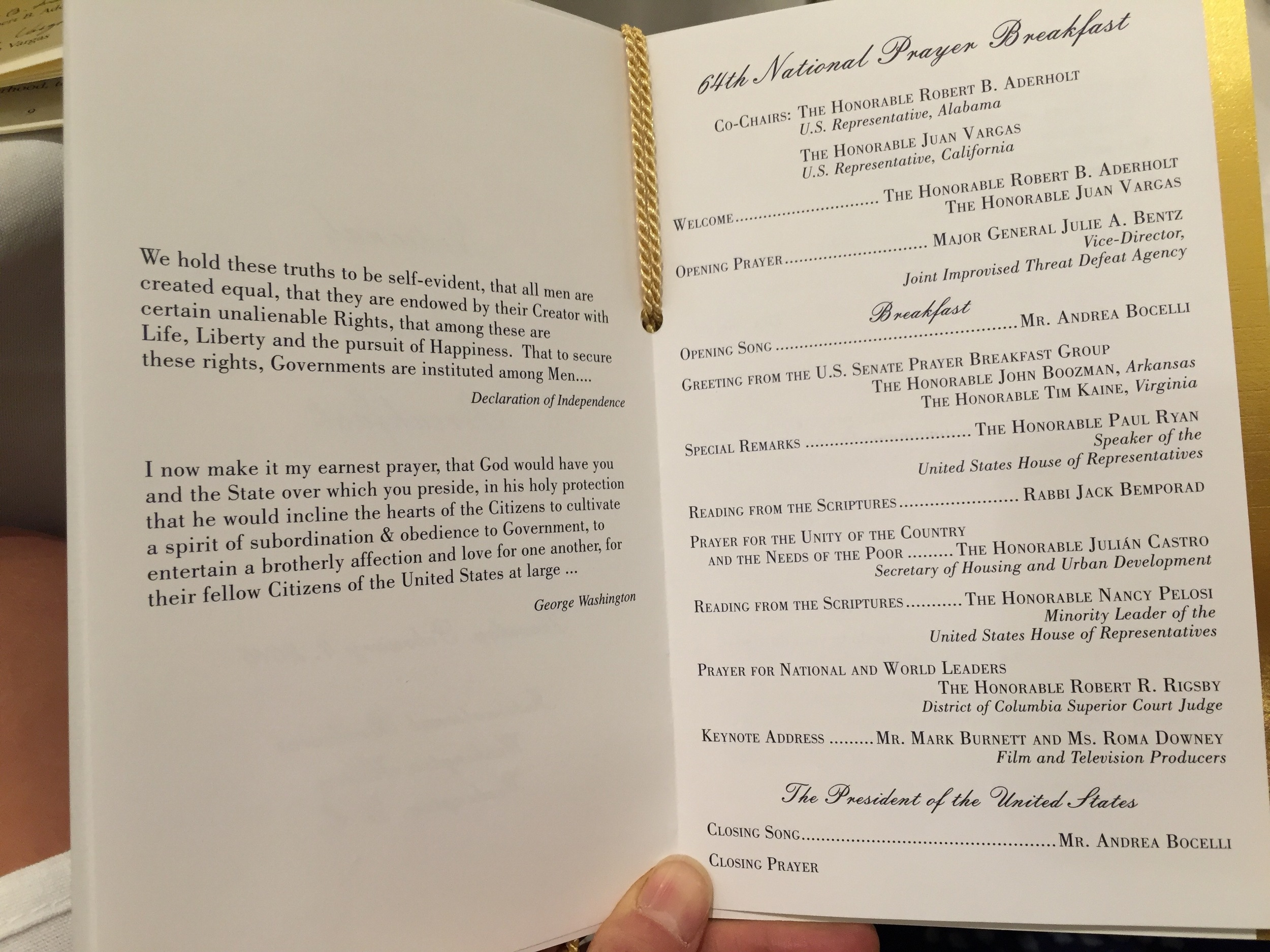 The main program from the breakfast.