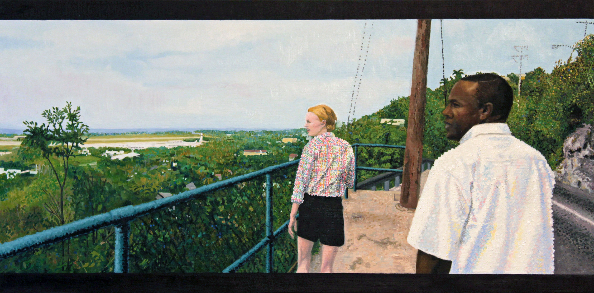 "Enid and Howard On The Queen's Road, Montego Bay, Oil on panel, 12"" x 24"", 2016, $1,900"