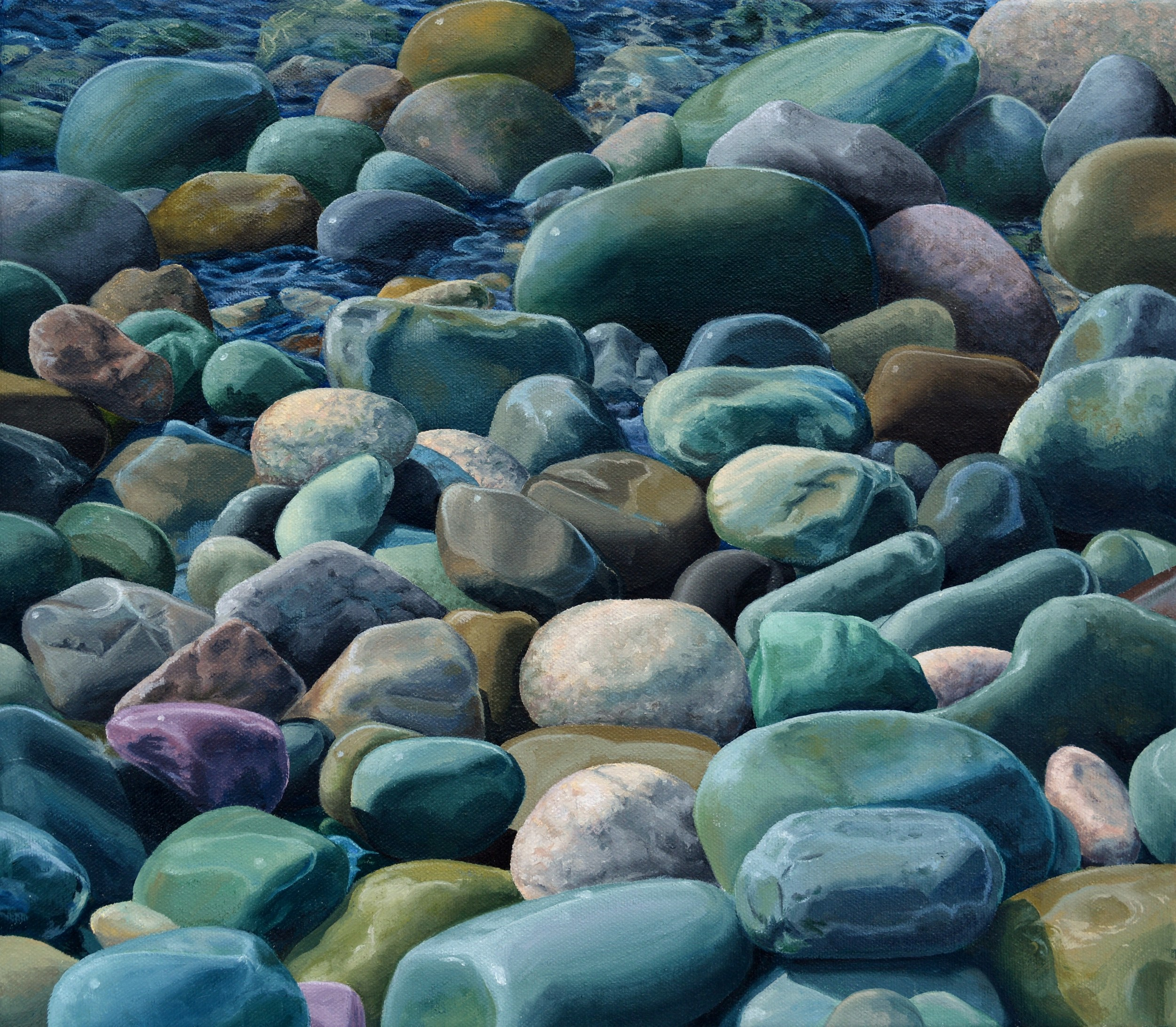 Smooth Stones, 14x16, Oil on Canvas