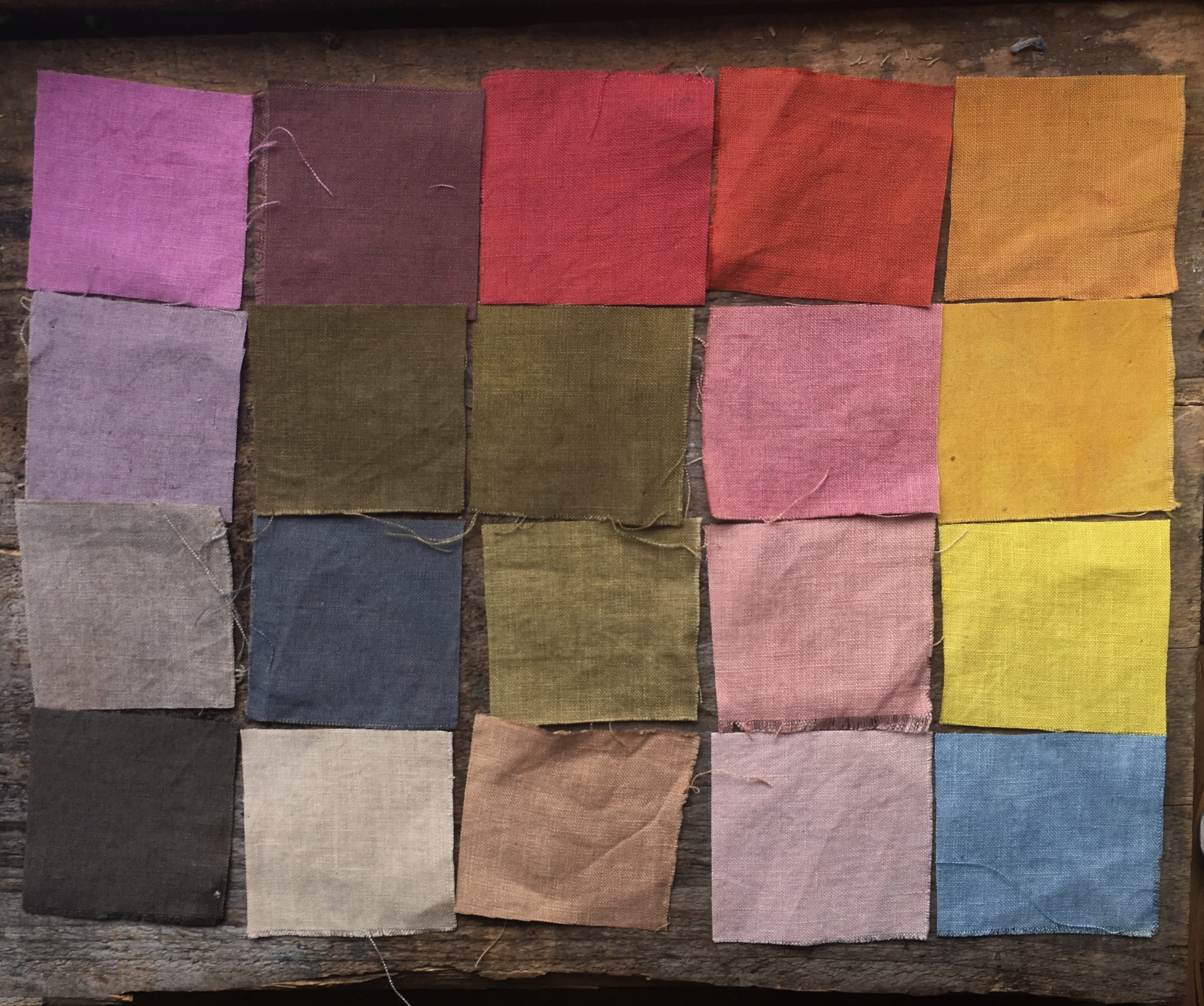 All the week's colors on linen