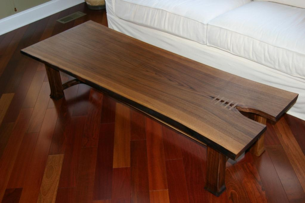 "Walnut and Maple Coffee table.  60"" x 22"" (2013)"