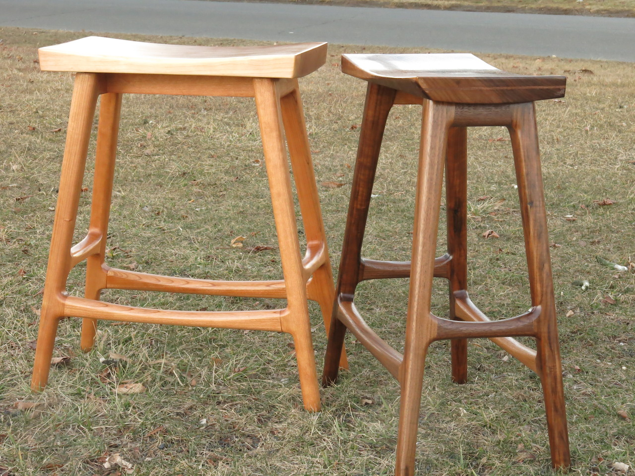 "Walnut and Cherry Kitchen stool pair.  25"" (2015)."