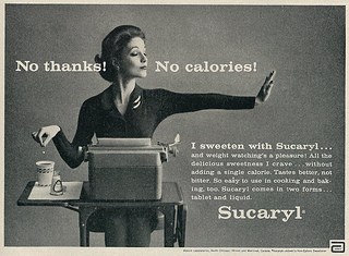 1962 Ad, Sucaryl Sweetener, with Pretty Secretary. Published in Good Housekeeping, October 1962, Vol. 155, No. 4.  From Flickr user   Classic Film  .