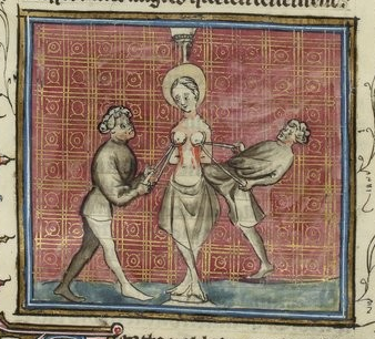 St Agatha's double mastectomy, from Jacques de Voragine , Légende dorée (1401-1500) -  Paris, BNF, MS  Français 242, fol. 57r.