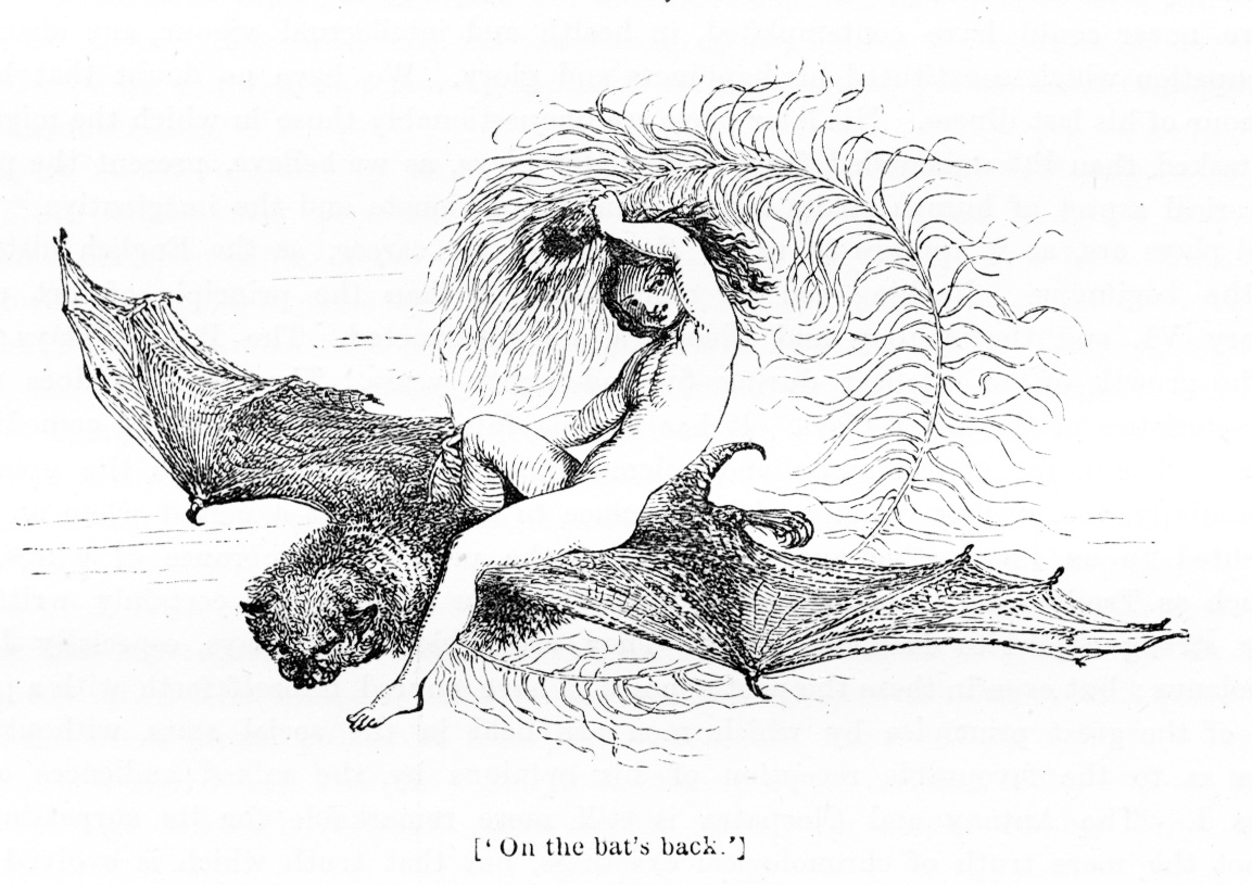 """""""On the bat's back"""", illustrated by William Harvey. From  The Pictorial Edition of the Works of Shakspere  / Edited by Charles Knight / Comedies, Vol. II.Published: London: Virtue & Co., [1839–42?]. Available online at the  Victorian Illustrated Shakespeare Archive , curated by Michael John Goodman."""