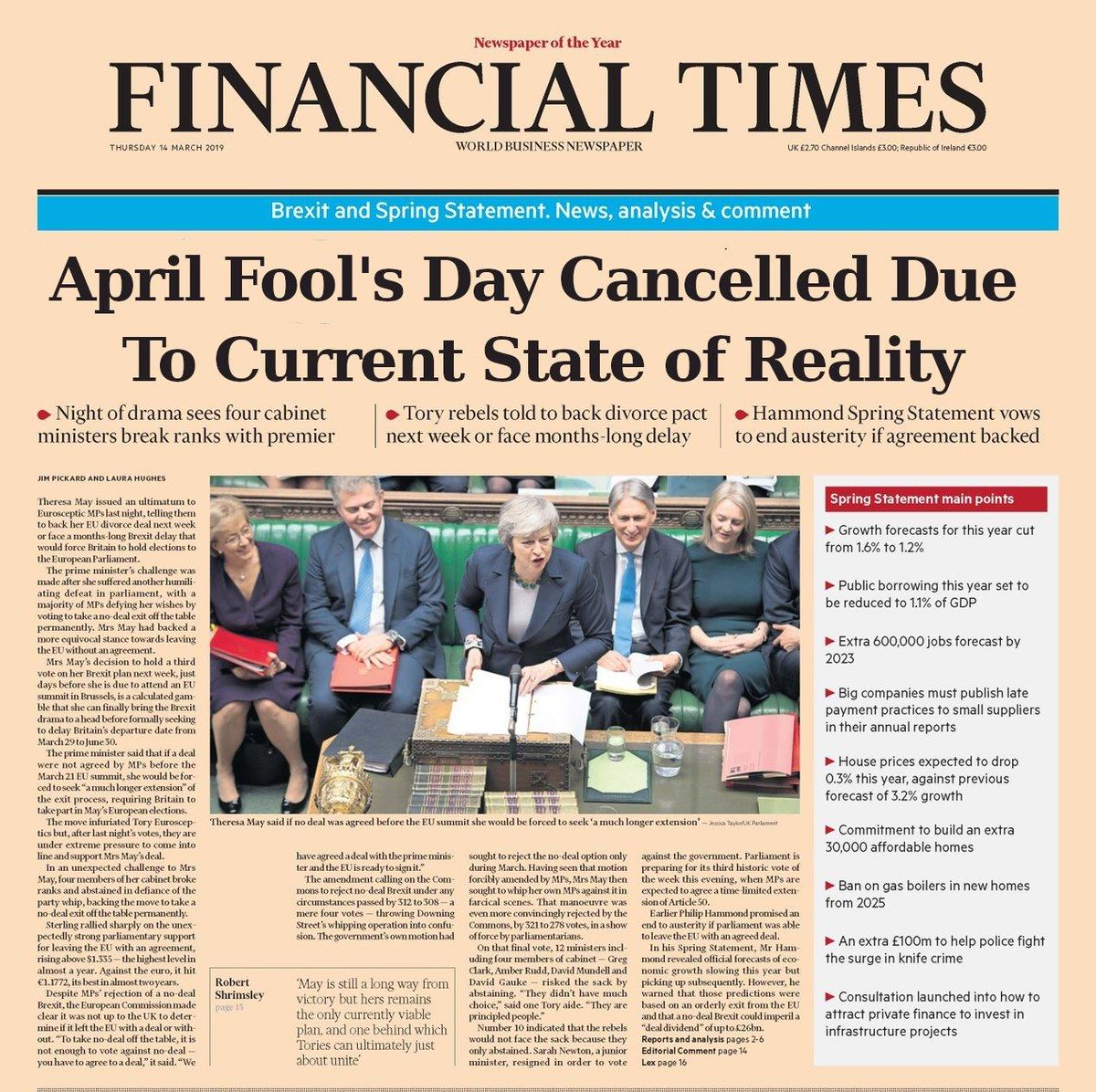 "Fig. 1: Front-page of the Financial Times (faked), dated 14/03/19. Headline reads ""April Fool's Day Cancelled Due to Current State of Reality"". Source:  Alex Kokcharov on Twitter ."