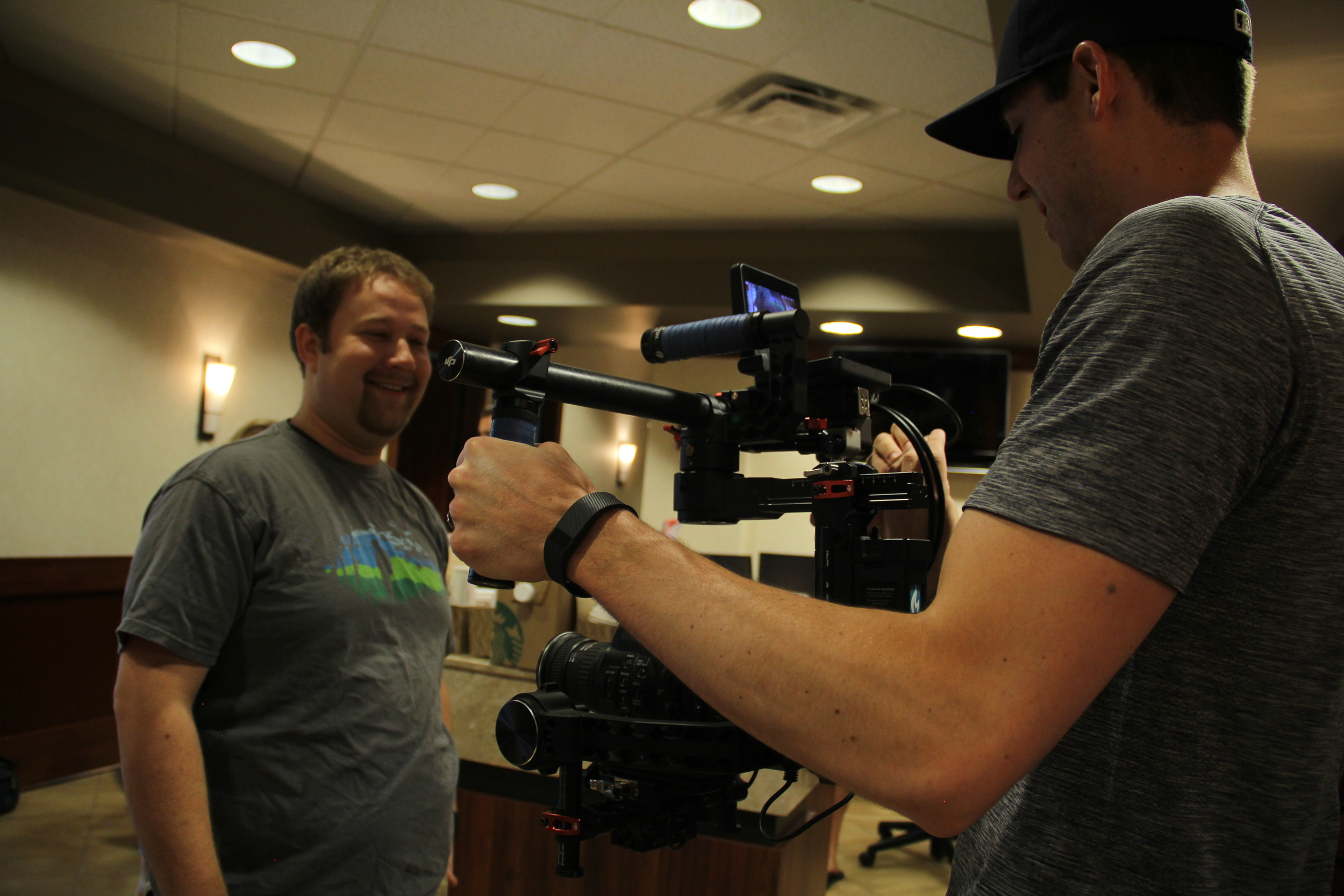 Alex Docekal (Producer) & Mike Rohlfing (Producer/DP) prepare the DJI Ronin