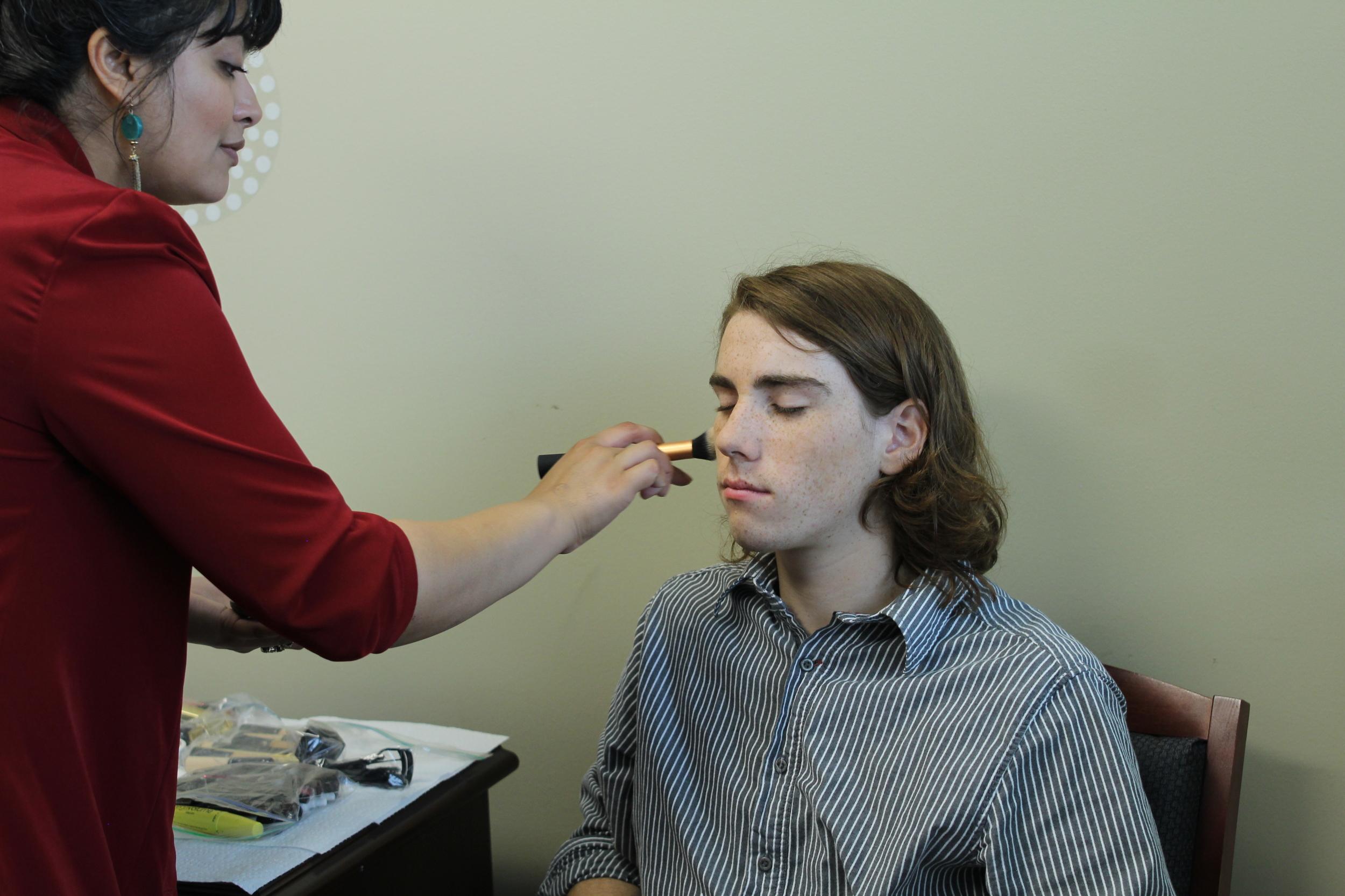 Shaheera Bhutto (Makeup) preps actor Harrison Farmer