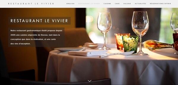 """Site Web biingue du restaurant étoilé """" Le Vivier """""""