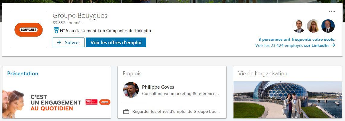 Page LinkedIn du groupe Bouygues